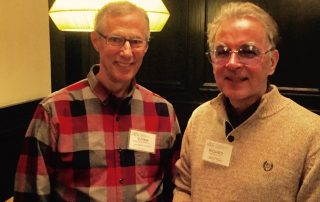 Crain's Chicago Business editorial cartoonist Roger Schillerstrom and Richard Pietrzyk discuss cartooning issues at Cartoonists Anonymous in January 2017.