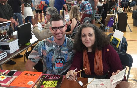 """Johnny Sampson (""""Mad Magazine"""" and the New York Times Review of Books) and graphic novelist Emil Ferris (""""My Favorite Thing is Monsters"""") share a table at C.A.K.E."""
